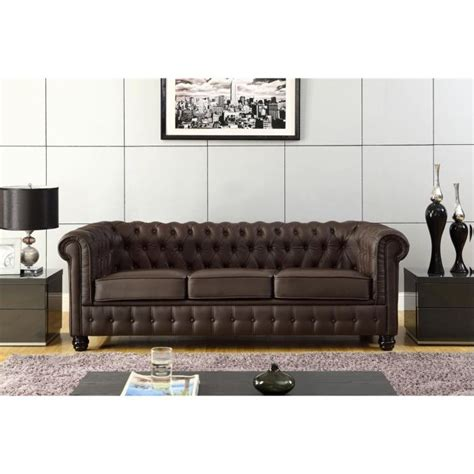 canapé 3 places 2 places chesterfield canap 233 en cuir et simili 3 places 213x88x75