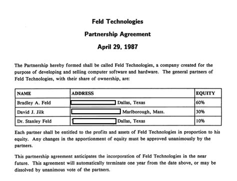 The Simple Formal Beginnings Of Feld Technologies Feld Thoughts Percentage Partnership Agreement Template