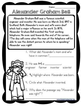biography lesson plans first grade alexander graham bell reading passage by the techie