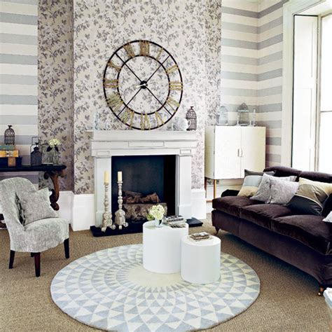 neutral patterned living room living room ideal home