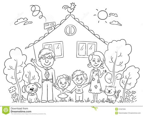 dog and child near my house family at the house outline stock vector image 51597555