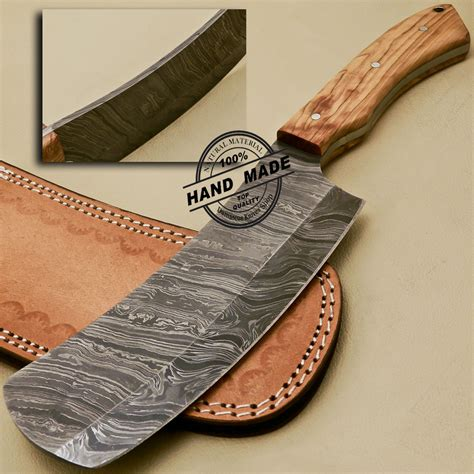 Handmade Designer - damascus cleaver butchers knife custom handmade damascus