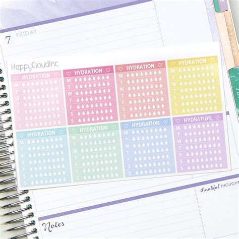 hydration notes horizontal notes weekly hydration planner stickers from