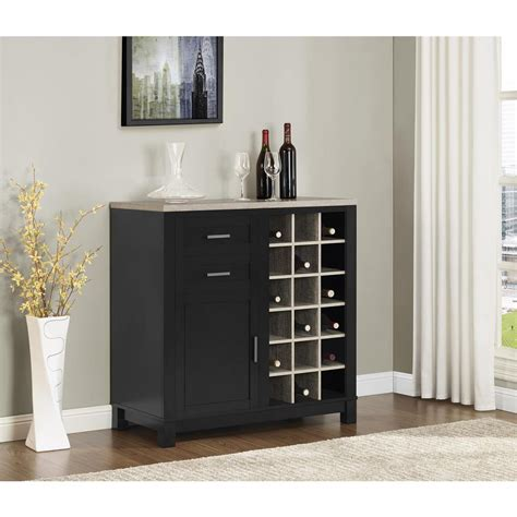 altra furniture carver black 18 bottle bar cabinet