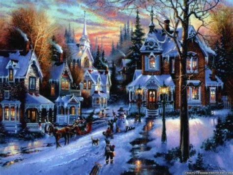 Christmas Scene Wall Murals vintage christmas village scenes happy holidays