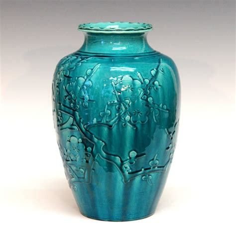 Vase Turquoise by Awaji Pottery Turquoise Vase With Applied Prunus Blossom Decor At 1stdibs