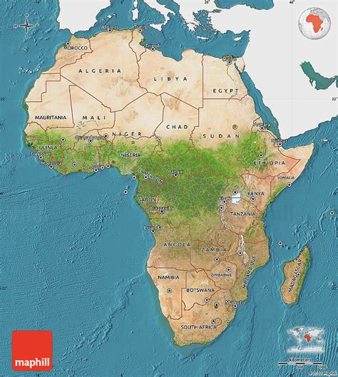 africa map in color satellite map of africa single color outside