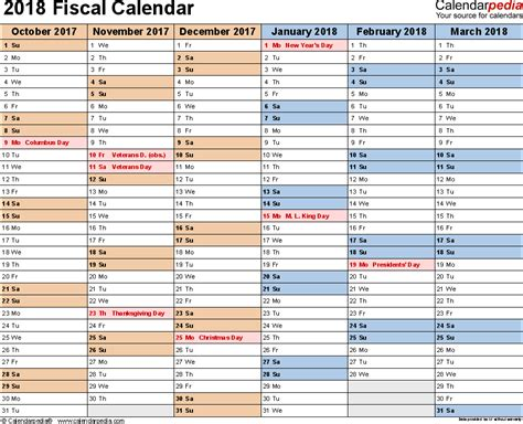 Fiscal Year 2018 Calendar Fiscal Calendars 2018 As Free Printable Excel Templates