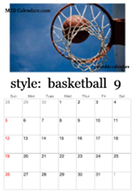 printable basketball calendars customizable sports