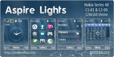themes clock c1 aspire lights theme for nokia c1 01 c2 00 themereflex