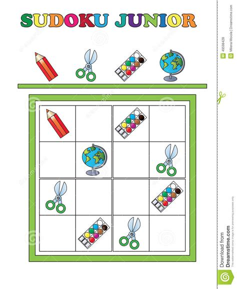 printable junior sudoku sudoku junior stock illustration image 49598428