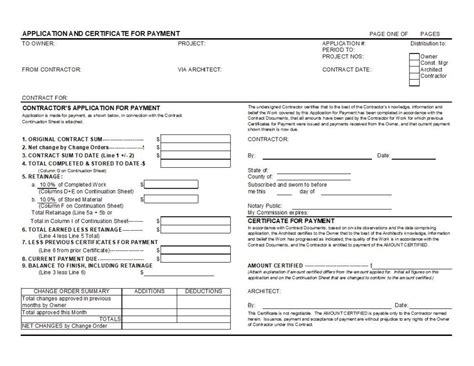 Aia G702 Application For Payment And G703 Continuation Sheet Excel Free Application For Payment Template