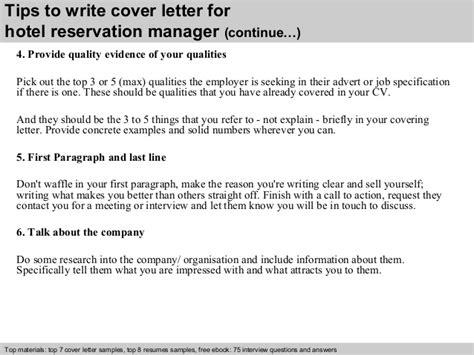 Hotel reservation manager cover letter