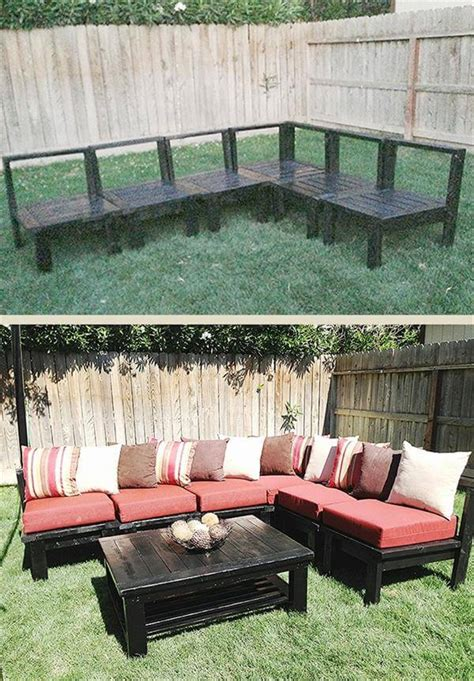 diy backyard furniture 15 diy outdoor pallet sofa ideas diy and crafts