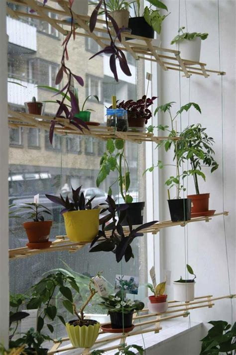 indoor window garden diy lattice window plant shelf decoist