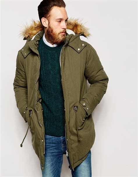 Asos Parka by Lyst Asos Parka With Faux Shearling In Khaki In