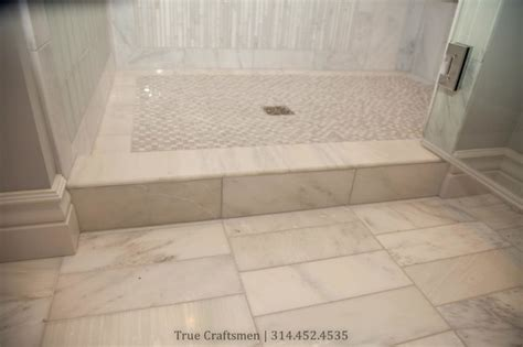 White marble bathroom with frosted subway glass tiles contemporary bathroom st louis by
