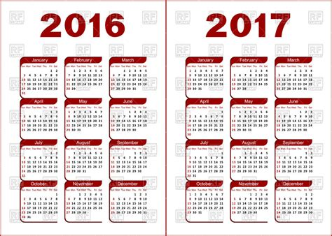 Calendario Romano 2015 Buy Calendar Grid For 2016 2017 Year Royalty Free Vector Clip