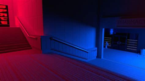 red blue stairs vaporwave wallpapers hd desktop