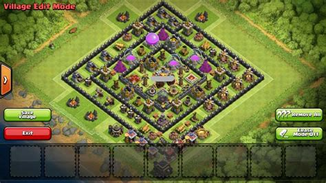 layout coc 4 mortar clash of clans town hall 8 farming base 4 mortars www