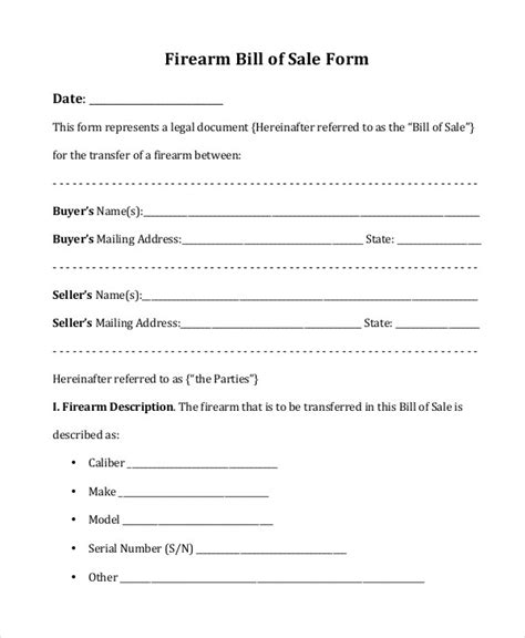Bill Of Sale Form 13 Free Word Pdf Documents Download Free Premium Templates Firearm Bill Of Sale Template