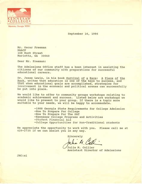 Kennesaw Acceptance Letter atlanta studies joyellen freeman activism preserved the records of the cobb county naacp at