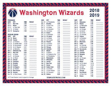 printable 2018 2019 washington wizards schedule