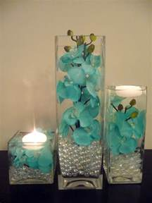 teal wedding decorations teal turquoise painted orchids in 3 pc vase and