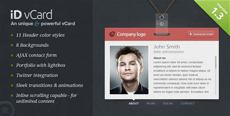 free business card vcard html website templates