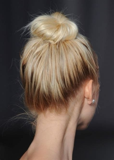hairstyles dark roots hairstyle for spring messy topknot with dark roots