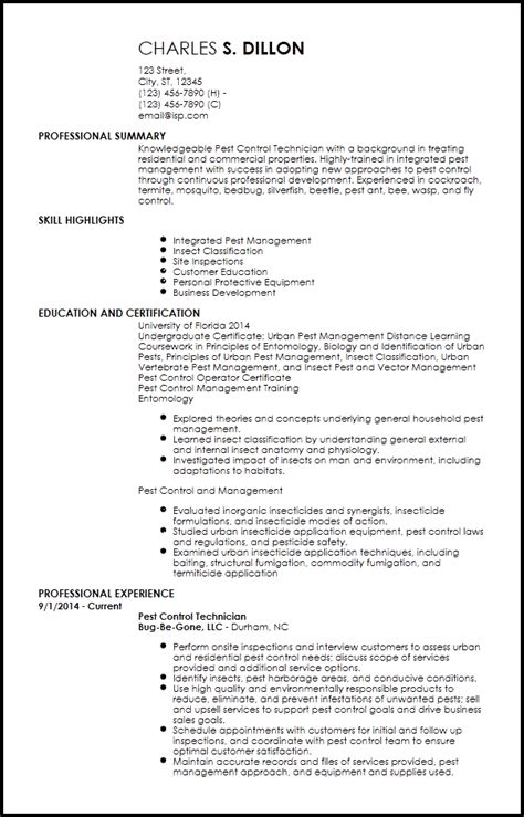Pest Resume Objective