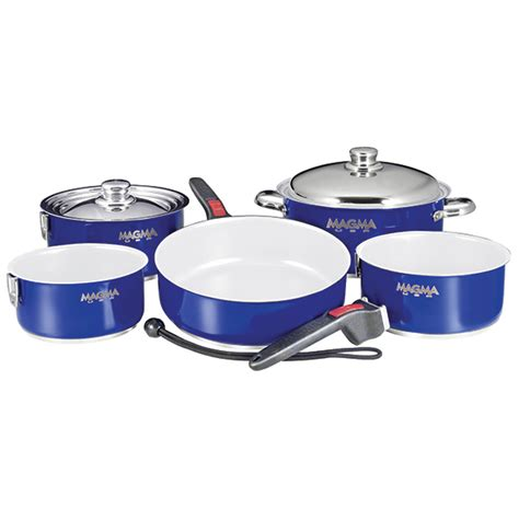ceramic induction cookware review magma 10 nesting ceramic non stick induction cookware set cobalt blue west marine