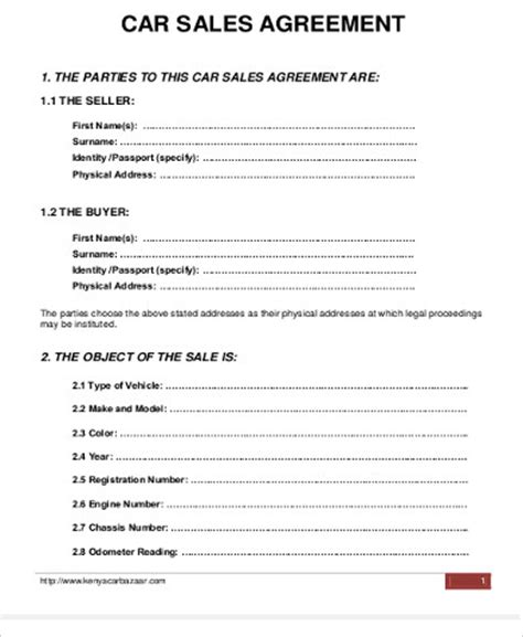 sle car purchase agreement 6 exles in word pdf