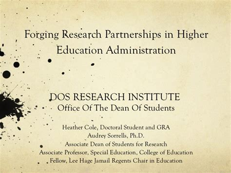 Mba In Higher Education And Research Management by Forging Research Partnerships In Higher Education