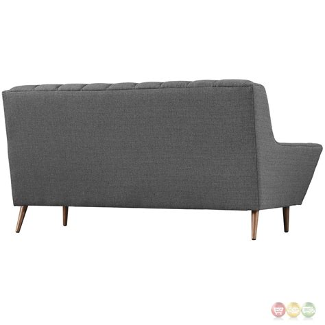 tufted loveseat gray mid century modern response contemporary button tufted