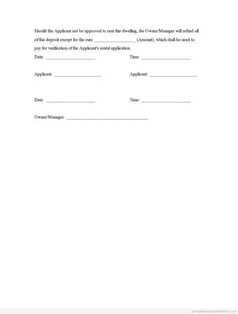 free printable deposit receipt template free deposit receipt and agreement form printable real