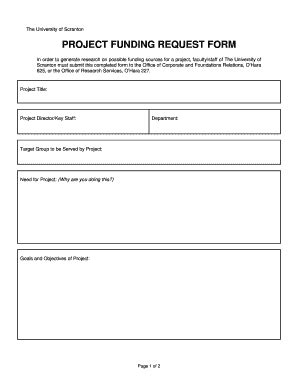 funding request form fillable matrix scranton project funding request