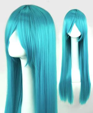 cyan long straight cosplay wig | pinkyparadise