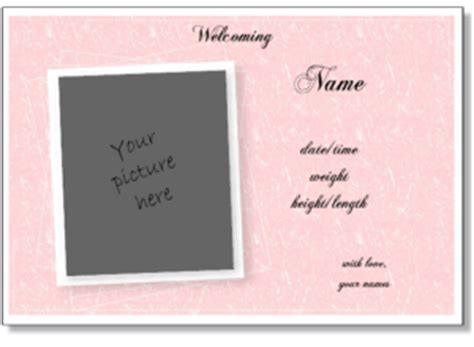 free pregnancy announcement card templates birth announcement templates word birth announcements