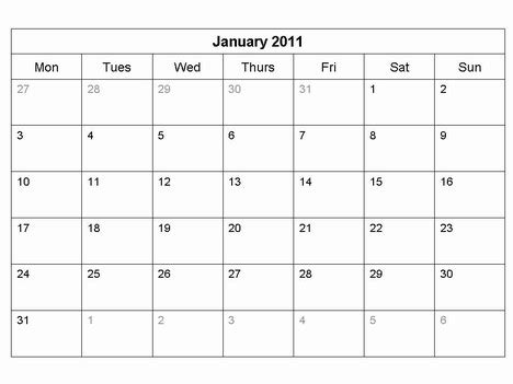 Easy Calendar Template by Free 2011 Monthly Calendar Template