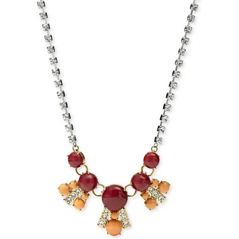 glass stones for jewelry fossil goldtone glass and resin frontal necklace in