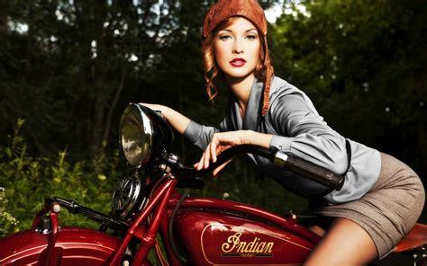 wallpaper girl vintage redhead girl vintage indian motorcycle wide re 4078 hd