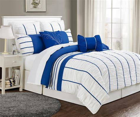 12 piece cal king villa blue and white bed in a bag set