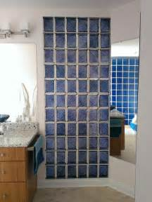 colored glass block shower in middleton wisconsin with a