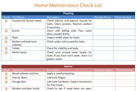home maintenance plan home maintenance schedule template basic dotxes