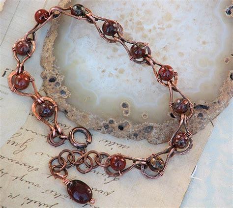 Handmade Copper Bracelets - poppy jasper copper bracelet adjustable handmade