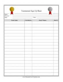 tournament sign up sheet template tournament signup sheet template