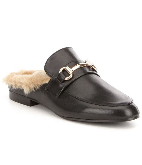 Steve Madden Mules For by Steve Madden Leather Faux Fur Lined Slip On Dress Mules In Black For Lyst