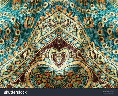 Kilim Upholstery Fabric Beautiful Arab Arabic Arabian Arabesque Fabric Stock Photo