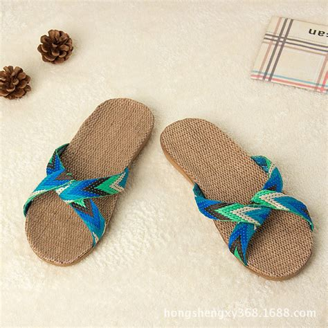 belt slippers for 2016 fashion flax home slippers indoor floor shoes cross